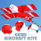 3D Single-Line Red White Kites Outdoor Fun Sports Beach Kite with Red Tail NEW