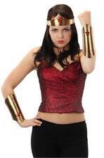 Woman Superhero CROWN & CUFFS Of Wonder COSTUME Prop SET Gold Red Stars Cosplay