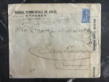 1916 Athens Greece Censored Cover to The National Bank In San Francisco USA