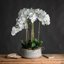 Large White Orchid In Stone Pot Tub Plant Decorative Artificial  - White