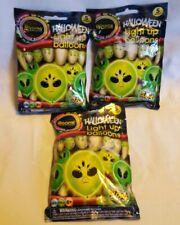Halloween LED Light-Up Balloons -  Aliens - Lot of 3 - NIP