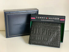 NEW! TOMMY HILFIGER BLACK DOUBLE BILLFOLD VALET PASSCASE WALLET $48 SALE