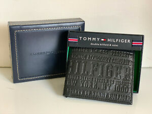 NEW! TOMMY HILFIGER BLACK DOUBLE BILLFOLD VALET PASSCASE WALLET $48 SALE