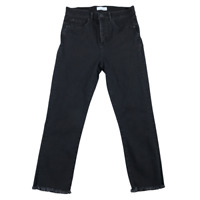 LOFT Women Pants Size 28/6 Black Denim Slim Pockets High Waist Straight Leg Crop