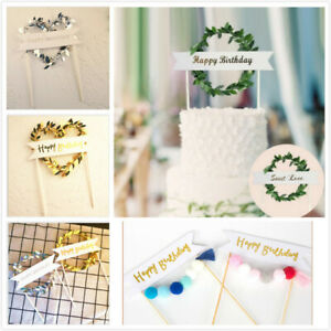 Pretty Happy Birthday Cake Topper Party Supply Cake Decoration Gold And Silver