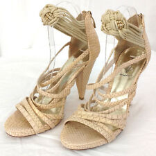 Baby Phat Shoes Womens Size 8.5 Cream Snake Reptile Strap Sandals High Heels