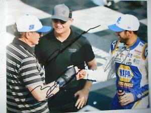 Bill & Chase Elliott, Jeff Gordon 3x signed PIT ROAD TALK Nascar 8x10 Photo