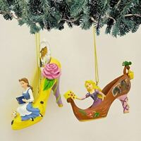 The Bradford Exchange Disney Once Upon a Slipper Ornament Set #14 Bell and Rapun