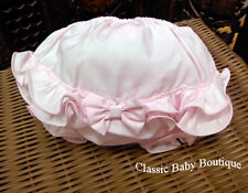 NWT Will'Beth Pink Ruffles Bow Diaper Cover Bloomers Size 0 3 Newborn Baby Girls
