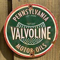 VINTAGE VALVOLINE MOTOR OIL PORCELAIN METAL SIGN PUR PENNSYLVANIA GAS PUMP PLATE
