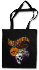 HALLOWEEN FACES STOFFTASCHE EINKAUFSTASCHE Witch Moon Halloween Pumpkin Face