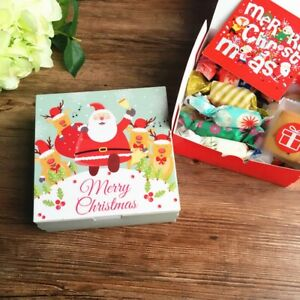 5-10PCS Christmas Paper Carrier Lunch Favour Party Boxes Snowman Cupcake Cookie