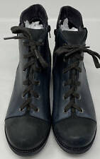 Naot Leather & Suede Lace-up Ankle Boots Groovy - EU 41 (10-10.5) Midnight Blue