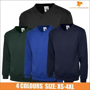 UNEEK Premium V-NECK Sweatshirt Heavy Brushed Jumper Sweater Pullover TOP XS-4XL