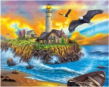"""Sunset Cove Lighthouse 16X20"""" Paint By Number Kit DIY Acrylic Painting on Canvas"""