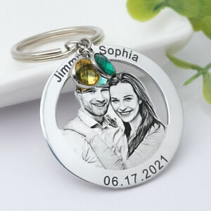 Picture Keyring,Photo Keychain with Birthstone,Personalised Anniversary Gift