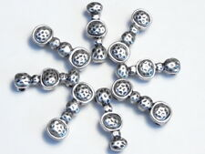 8 - 2 HOLE SLIDER BEADS DIMPLED HAMMERED DESIGN ANTIQUED SILVER TONE SPACER BEAD