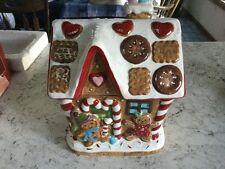 St Nicholas Square Christmas Gingerbread Man House Tree Large Cookie Jar