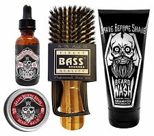Grave Before Shave Beard Care Pack (Bay rum oil, balm, Bass Brush, and GBS Wash)