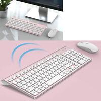 Slim 2.4Ghz Wireless Full Size Keyboard + Silent Mouse 2400Dpi French Azerty