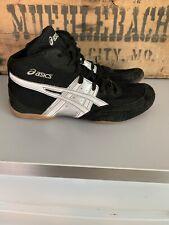Asics Matflex J902Y Size 10 Black Silver White Knit Wrestling Sneakers Excellent