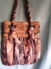 Sun and Sand  Straw And Cloth Shoulder Handbag