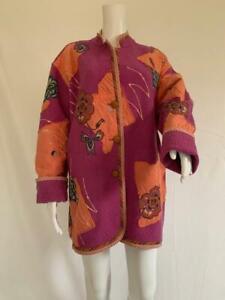 KOOS Van Den Akker NY Fuchsia Basket Weave Wool Multi Floral Applique Jacket  M