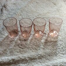 Pink Depression Glasses or Tumblers Swirl Design - Set of 4