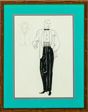"""Dapper Sulka Gent in White Dinner Jacket Watercolor"""