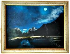 """Moonlight Lake"" Original Acrylic Painting Framed & Signed Night Landscape Moon"