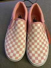 New Vans White & Pink Checkered Sneakers Missy Size: 5