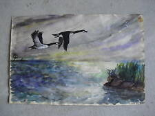 Vintage 1950s Ken Urion Watercolor Painting Geese LOOK