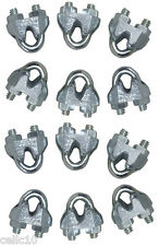 """12 High Quality 1/8"""" Galvanized Wire Rope Clips / Cable Clamps - Antenna Guying"""