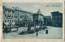 1920 Como - Piazza Cavour, vecchio tram, passanti, cupola - FP B/N VG ANIM