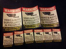 VIDEO SURVEILLANCE Security Decal  Warning Sticker (if you are ...)set of 9 pcs