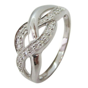 9ct White Gold 0.10ct Diamond Fancy Twist Crossover Dress Ring
