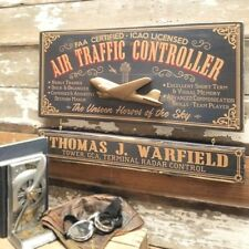 Air Traffic Controller Wood Plank Sign with Personalized Nameboard