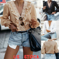 US Women Lace Ruffle V Neck Top Ladies Long Sleeve Casual OL Work Blouse T-Shirt