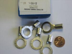 "Box/20) Thomas & Betts Sta-Kon E6-12 Copper Ring Terminal for #6 AWG -1/2"" Hole"