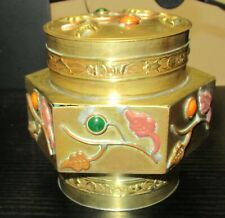 CHINESE BRASS FLORAL DESIGN CANISTER JAR BOX WITH STONES