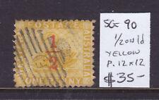 W.A.: 1/2d On 1d Yellow Swan Sg 90 Perf 12 X 12 Good Used And Scarce!