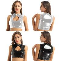 Women's Wet Look Leather Mock Neck Sleeveless Tank Crop Top Blouse Vest Clubwear