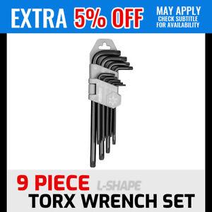 9Pc Torx Key Set Tamperproof CR-V Star Wrench L-Type Long Arm T10-T50 & Holder
