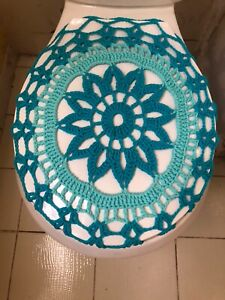 Handmade Crochet Round Toilet Lid/Seat Cover Light Blue/Turquoise #6