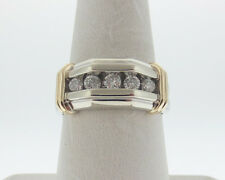 Large Genuine 1/2ct Diamonds Solid 14k White Yellow Gold Two-Tone Men's Ring