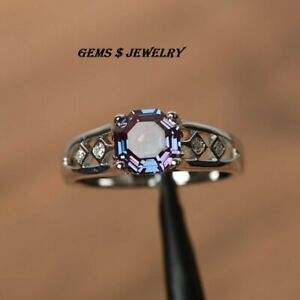 alexandrite rings octagon cut ring June birthstone color changing gem stone rng