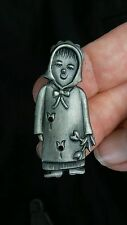"""Torino Pewter Flower Girl Jewel Box,Earrings &  Pin about 1 3/4"""" tall"""