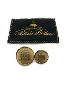 """BROOKS BROTHERS Gold Tone Replacement Shank Buttons 2 Sizes 3/4"""" & 1/2"""""""