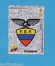 KOREA/JAPAN 2002-PANINI-Figurina n.511- SCUDETTO/BADGE -ECUADOR-NEW BLACK BACK
