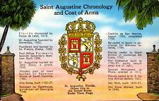 Postcard Saint Augustine Chronology and Coat of Arms Unused
